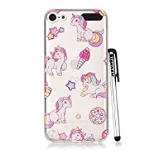 iPod Touch 6 Case Clear, iPod Touch 5 Case, Qiyuxow Cute Bright Rainbow Horse Pattern Slim Fit Crystal Transparent Soft Rubber TPU Skin Case for Apple iPod Touch 5 6th Generation