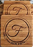 Monogram Wood Coasters for Drinks - Personalized Wedding Gifts, Bridal Shower Gifts (Set of 2, Fletcher Design)