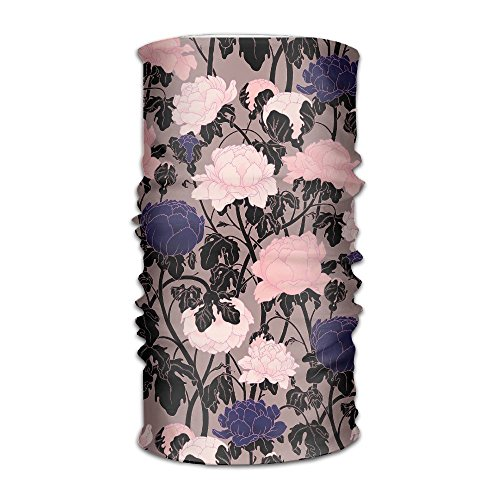 Jadetian Purple And Pink Flower Men's Headwear Womens Bandanas Outdoor Headscarf Elastic Bandanas Handkerchief
