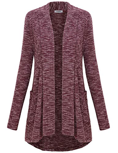 JCZHWQU Fall Clothes for Women, Girls Cute Open Front High Low Drape Light Soft Knit Cardigan Sweater Tunic Tops with Pockets Cover Up Pajamas Legging Wear Bergundy M
