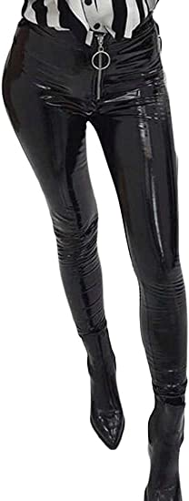 Women's Leggings Full Zip High Waist Skinny Bodycon Faux Leather Pencil Pants