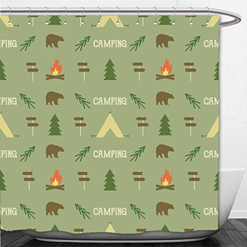 Interestlee Shower Curtain camping elements pattern camping seamless wallpaper design equipment for camping background for 432302980