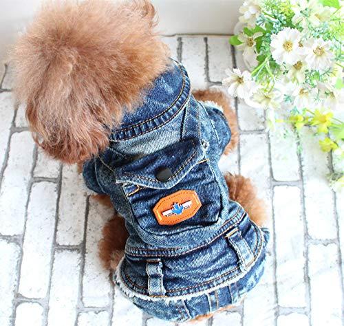 bluee Small bluee Small SEBAS HOME Pet clothes four-legged cowboy autumn and winter attire Teddy bear dog onesies (color   bluee, Size   S)