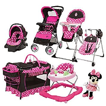 Disney Baby Minnie Mouse Pink 7 Piece Stroller Car Seat High Chair Playpen