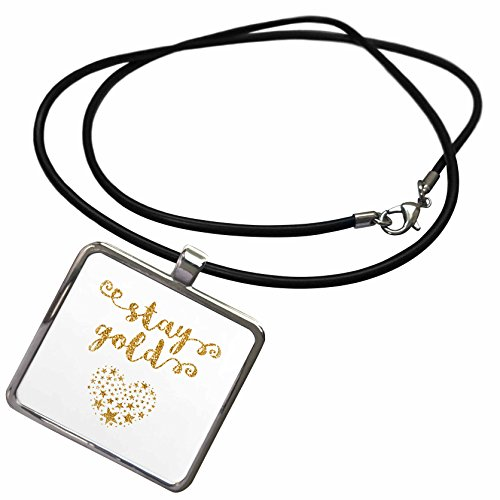 3dRose Russ Billington Designs - Stay Gold- Typography Gold Effect over White Background - Necklace With Rectangle Pendant (Rectangle White Gold Pendant)