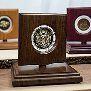 "Challenge Coin Rotating Display Case - Natural Black Walnut Wood - For 45mm (1.75"") Coins"