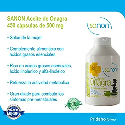 SANON Aceite de Onagra 450 cápsulas de 721 mg: Amazon.es: Salud y cuidado personal