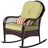 Sundale Outdoor Wicker Rocking Chair Rattan Outdoor Patio Yard Furniture All- Weather with Cushions (Green) Review
