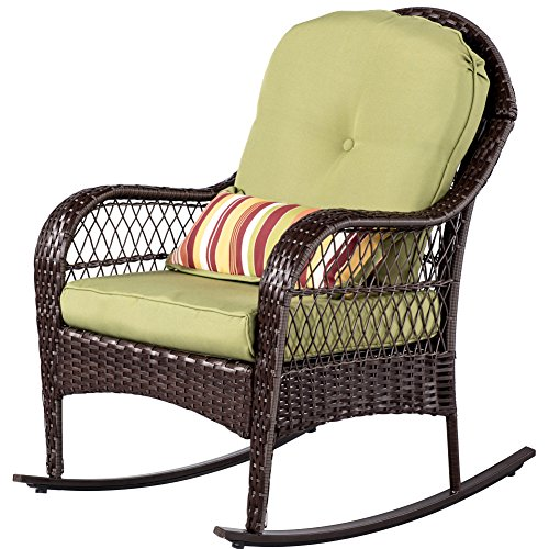 Sundale Outdoor Wicker Rocking Chair Rattan Outdoor Patio Yard Furniture All- Weather with Cushions (Green) (Wicker Chair Outdoor)
