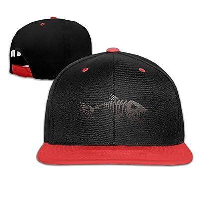 Fish Skull Skeleton Bone Adjustable Kids Snapback Hip Hop Flat Brim Cap Trucker Fun Baseball Hat For Boys Girls