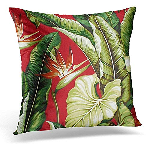 (Throw Pillow Cover Colorful Patterns Barkcloth Tropical Floral Red Fabrics Decorative Pillow Case Home Decor Square 18x18 Inches Pillowcase)