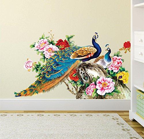 Decals Design Peacock Birds Nature Wall Sticker Pvc Vinyl 60 Cm X 90 Cm Multicolour