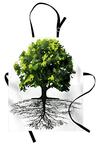 Lunarable Tree Apron, Majestic Lonely Ancient Plant with Deep Roots Ecology Growth Earth Organic Picture, Unisex Kitchen Bib Apron with Adjustable Neck for Cooking Baking Gardening, Green Black (Earth Day Apron)