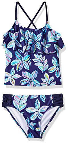 Kanu Surf Little Girls' Charlotte Flounce Tankini Beach Sport 2-Piece Swimsuit, Navy Floral, 6