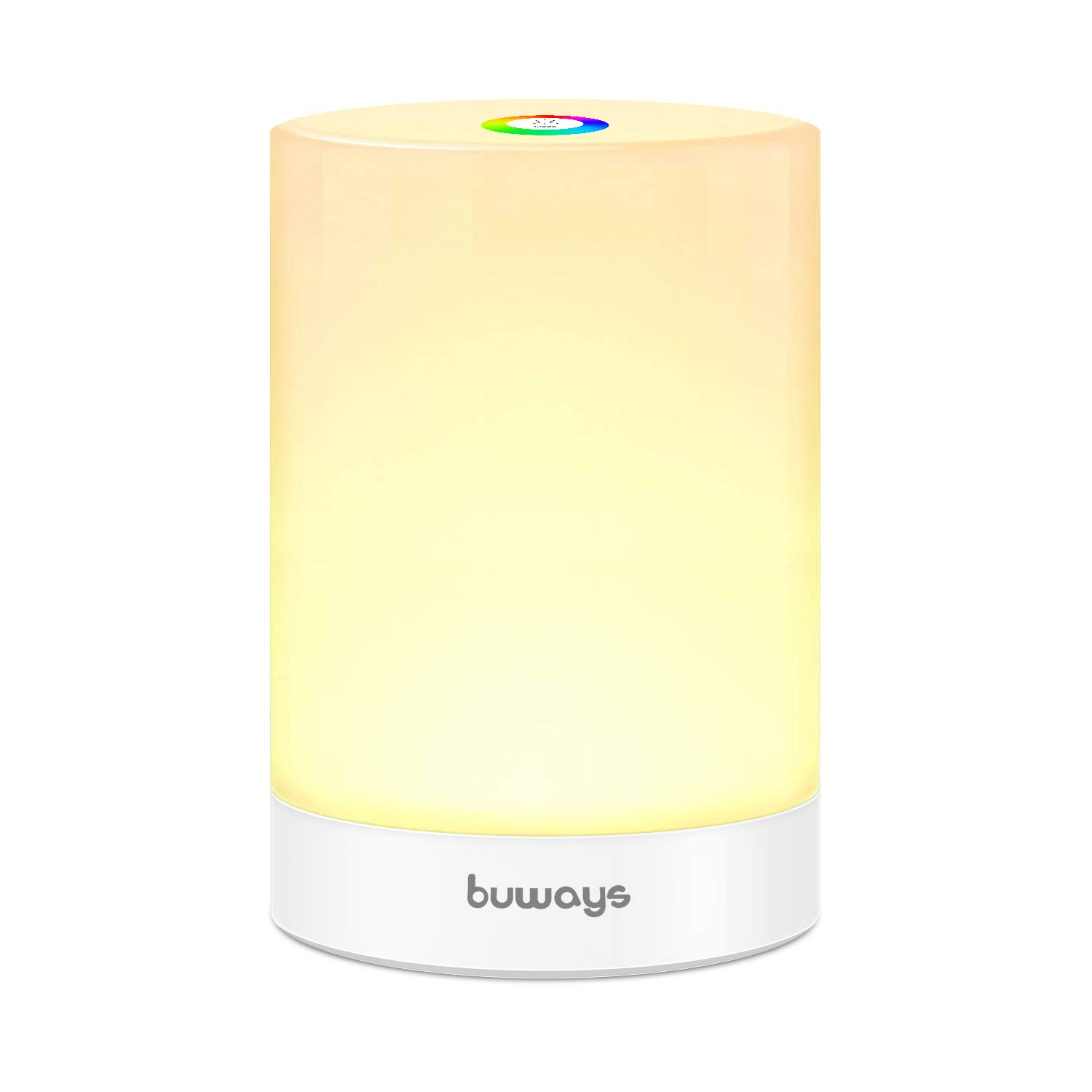 buways Night Light, LED Table Lamp with Touch Control - Warm White Light & Color Changing RGB, Portable Rechargeable Lamp for Bedrooms Living Room