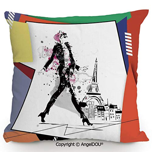AngelDOU Back Cushion Nice Throw Pillow,A Girl Walking in Streets of Paris Sketch Style Romantic Eiffel Tower Image,Sofa Bed Head Waist Pillow Back car Waist pad.15.7x15.7 inches