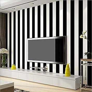 KeTian Papier peint moderne minimaliste rayé en PVC pour chambre à coucher  et salon, PVC, noir/blanc, 0.53m (1.73\' W) x 10m(32.8\'L)=5.3m2 (57 sq.ft)