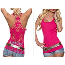 Women Crochet Hollow Out Lace Back Tank Top Clubwear Halter Camisole