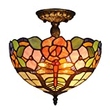 Amora Lighting AM050CL12 Tiffany Style Floral Ceiling Pendant Fixture Lamp 12 In
