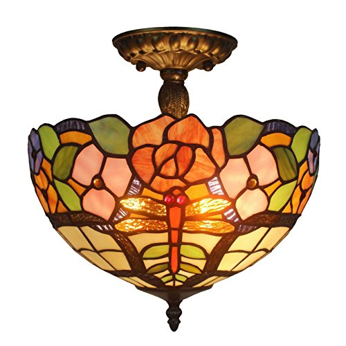 Amora Lighting AM050CL12 Tiffany Style Floral Ceiling Pendant Fixture Lamp 12 In - Floral Ceiling Fixture