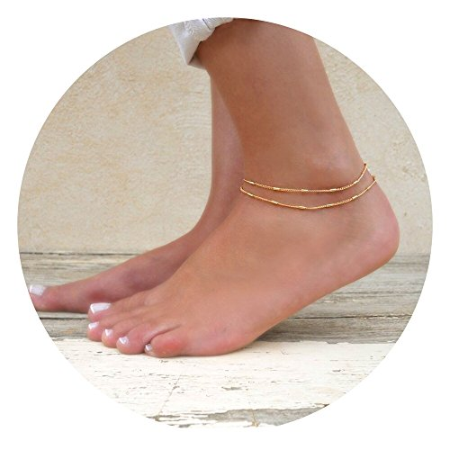 Fettero Anklet Women Handmade Beads Dainty 14K Gold Fill Boho Beach Foot Lucky Chain Adjustable Double Layer Unique