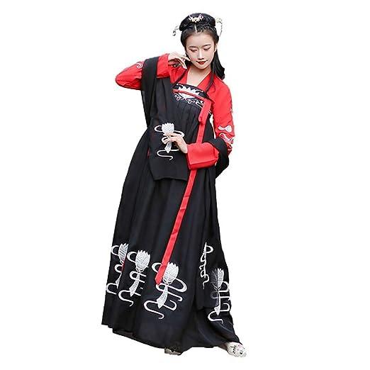 YCWY Traje Vintage para Mujer, Vestido Chino Chiffon Hanfu ...