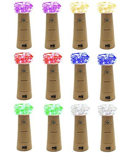 12 Pack Bottle Lights, DIGSELL 37.4in/95cm 20 Leds Bottle Cork Lights Silver Wire Fairy String Lights For Bottle DIY