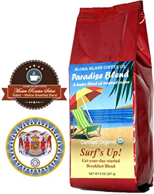 Surf's Up! Breakfast Blend, Certified 100% Organic Coffee, 8 Oz Whole Bean