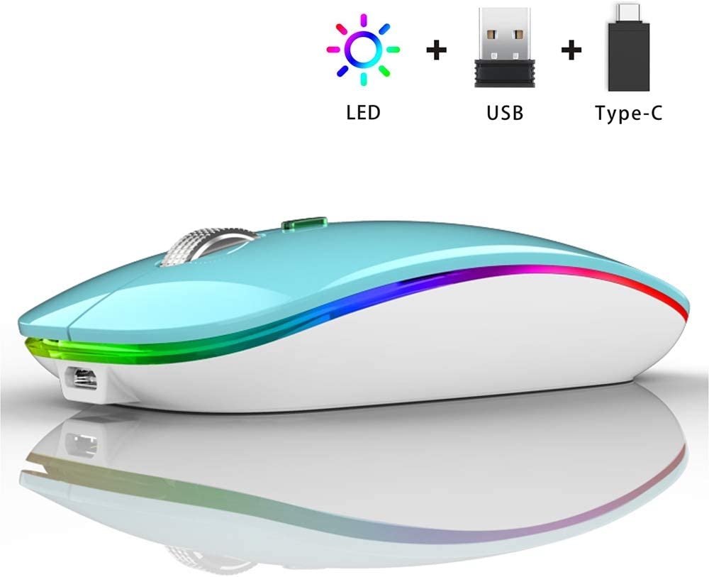 Ratón Inalámbrico Recargable, Ultra Delgado Receptor Nano Wireless Mouse 1600 dpi Ajustables Silencioso Mini Mouse Multicolor LED para Computadora Portátil, PC, Portátil, Macbook (Azul)