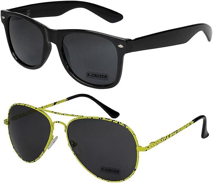 2er Pack X-CRUZE® Fahrradbrille Sportbrille Sonnenbrille Brille Männer schwarz