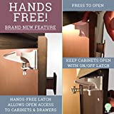 Baby Cabinet Safety Latches/Locks - NEW HANDS FREE FEATURE - 8-Pack White - Use for Cabinets and Drawers - No Tools Required - 3M Adhesive