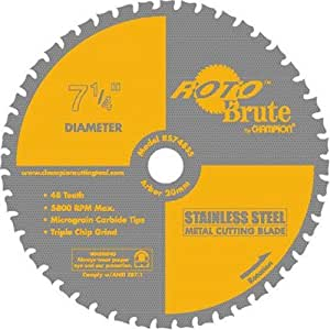 Champion RS748SS RotoBrute 7-1/4-Inch 48 Tooth TCG Stainless Steel Cutting Saw Blade with 20-Millimeter Arbor