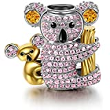 NINAQUEEN Koala Baby Charms fit Pandöra 925 Sterling Silver Gold Plated Happy Family Animal Bead Charms for Pandöra Bracelets Necklace Birthday for her Girlfriend Friends Sisters