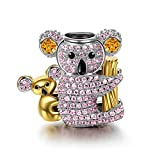 Image of NinaQueen 925 Sterling Silver Gold Plated Animal Charms for Bracelets Necklace Jewelry Making Bday Anniversary Graduation Wedding Women Gifts for Her- Happy Family Koala Baby