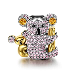 NINAQUEEN 925 Sterling Silver Charms ♥Gifts for Women♥ Koala Baby Gold Plated Bead Charms with 5A Cubic Zirconia, Ideal Happy Family Series