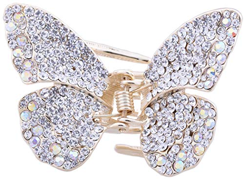 (New Style Multi-color Gold Swarovski Crystal Butterfly Hair Claw Clip)