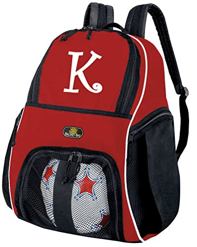 Broad Bay Personalized Soccer Backpack Custom Soccer Ball Bag Red by Broad Bay
