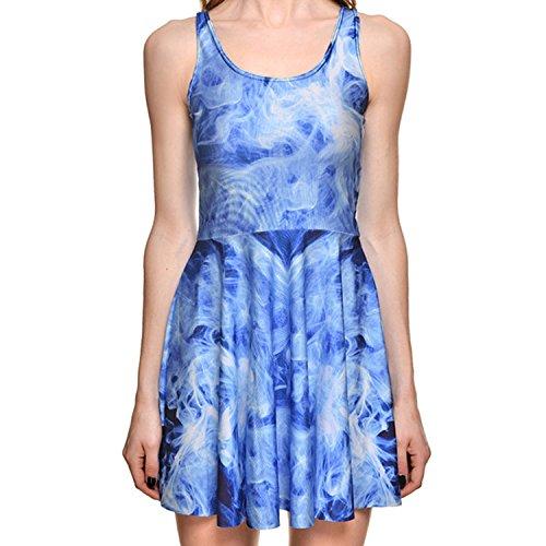 Women Summer Galaxy Starry Sky Nebula 3D Print Reversible Skater Pleated Dress 1216 - Millen Shop Karen