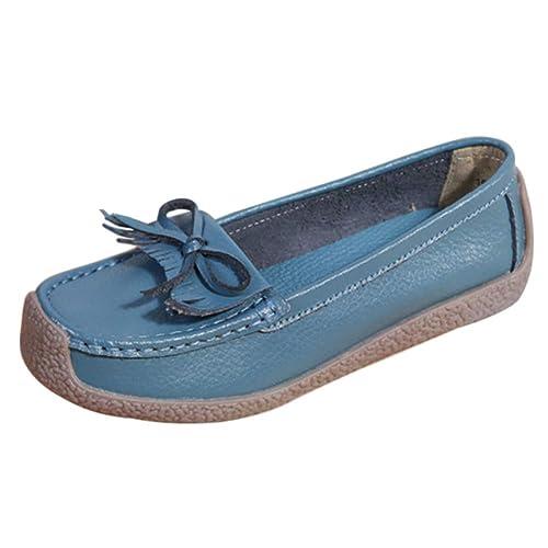 Daytwork Zapatos Mujer Mocasines Borla - Planas de Cuero con Tacón Bajo Cómodas Zapatillas de Ballet Antideslizantes Casual Moda Confort: Amazon.es: Zapatos ...