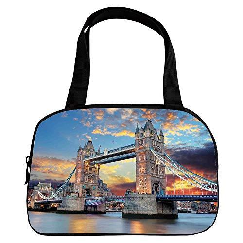 (iPrint Vogue Small Handbag Pink,London,Vista of Tower Bridge at Dramatic Sunset Thames River with Grey Clouds,Light Blue Yellow Tan,for Girls,Diversified Design.6.3