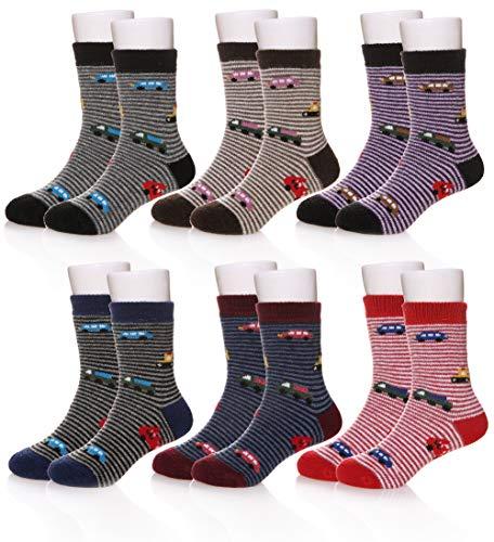 Eocom 6 Pairs Children's Winter Warm Wool Socks Kids Boys Girls Socks (4-7 Years, Cartoon Car) (Cold Weather Socks For Girls)