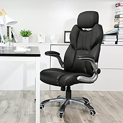 SONGMICS Ergonomic Gaming office Chair, High-back Racing Chair, Height Adjustable, with Adjustable Headrest and Seat, High Backrest, Thickened Padding, Rocking Function, Black, UOBG65BK by SONGMICS