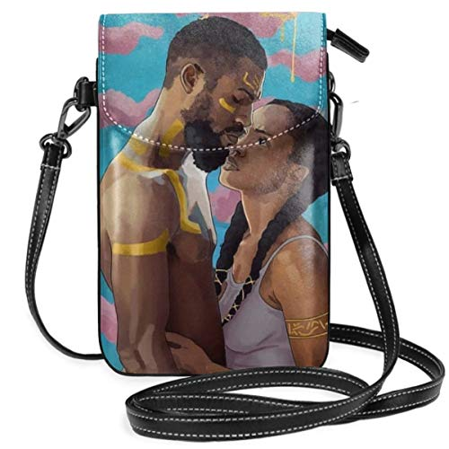 Women Ladies Girls Roomy Pockets Iphone Shoulder Bag African American Black People Lovers Couple Art Crossbody Bag Credit Card Clutch Bag, Water Resistant, Running travel bag