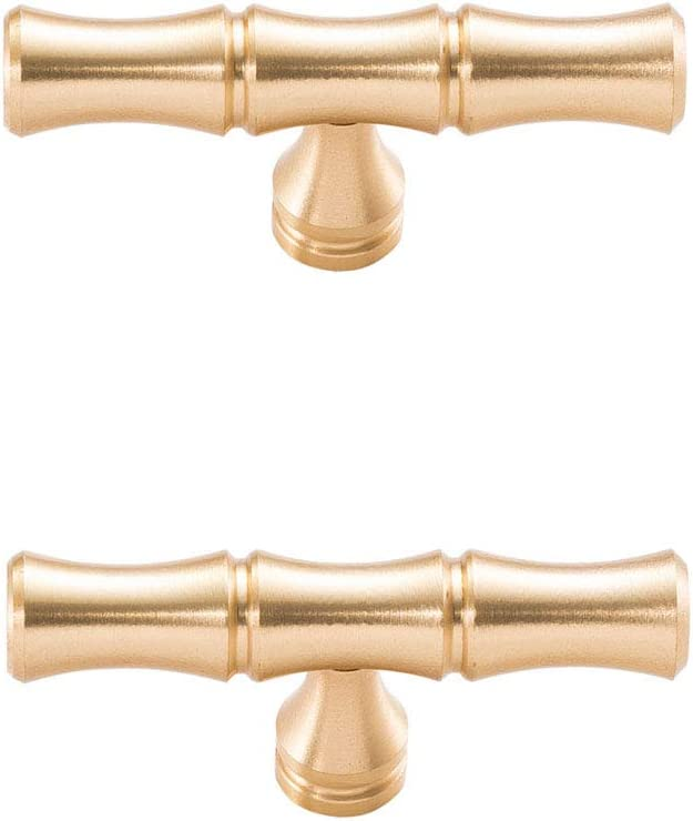 Feijinmao 2 pcs Brass Bamboo Shape Drawer Pull Handle Cupboard Closet Door Pulls Decorative Furniture Accessories Knob Kitchen Hardware Dresser Drawer Knob (Single Hole)