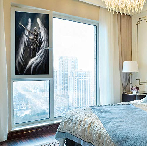 Majestic Angel Fish - YOLIYANA 3D Antifouling Window Film,Fantasy House Decor,for Toilet Bathroom Balcony,Angel Knight with Majestic Wings Spiritual Superior Power,24''x48''