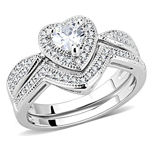 HomeDay Women Halo Heart Shaped Wedding Ring Set Cubic Zirconia Engagement Ring - Shaped Heart Rings Wedding