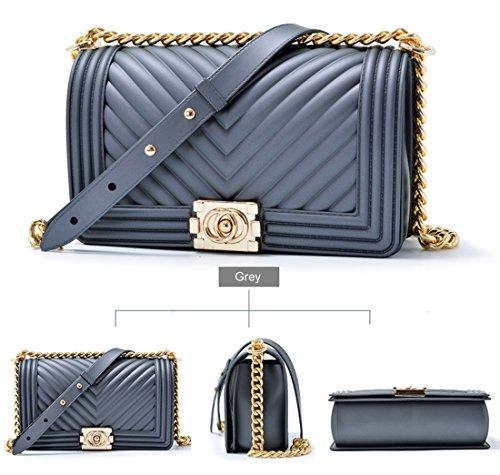 Handbag Fashion Shoulder Grey Bag Women Crossbody Jelly Quilted OYIGE Bag Clutch with Chain Rq5YOx