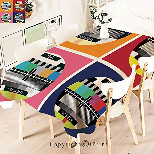 - Elegant Tablecloth Waterproof Spillproof Polyester Fabric,Radio Channel Signal Digital Sign in Table Cover for Kitchen Dinning Tabletop Decoration,W55 xL83,Multicolor