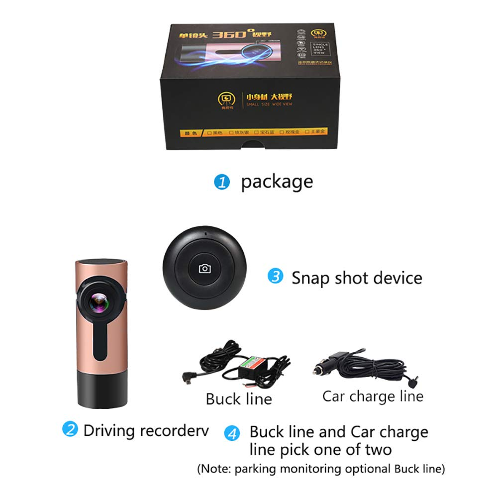 ZYWX-Dash-Cam-Driving-Recorder-360-Panorama-Full-HD-1080P-Parking-Monitoring-Loop-Recording-Night-Vision-One-Click-Capture-Hidden-CameraBrown