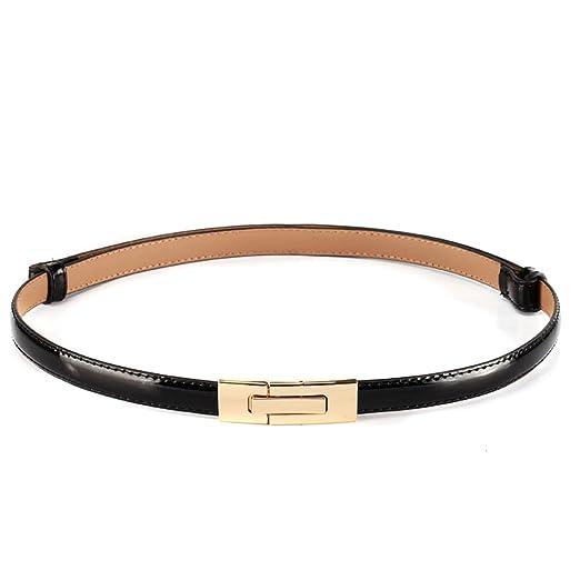149ed14f1 MoYoTo Womens Stylish Gold Sliver Skinny Thin Patent Leather Waist Belts,  Black, One Size